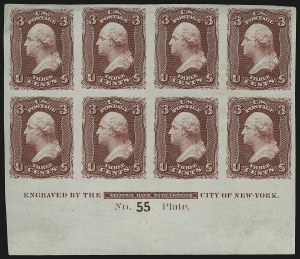 Sale Number 890, Lot Number 188, 1861 Issue 3c Lake, Trial Color Plate Proof on India (66TC3), 3c Lake, Trial Color Plate Proof on India (66TC3)