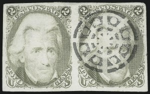 Sale Number 890, Lot Number 194, 1861 Issue 2c Black Jack, Trial Color Plate Proof on India, Geometric Trial Cancel (73TC3 var), 2c Black Jack, Trial Color Plate Proof on India, Geometric Trial Cancel (73TC3 var)