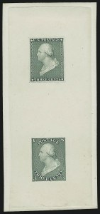 Sale Number 890, Lot Number 25, 1851 Issue 3c Green, Die Essay on India, Vertical Pair (11-E7a), 3c Green, Die Essay on India, Vertical Pair (11-E7a)
