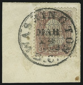 Sale Number 890, Lot Number 263, 1867 Grilled Issue Essays3c Rose, Safety Overprint (65-E), 3c Rose, Safety Overprint (65-E)
