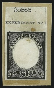 "Sale Number 890, Lot Number 264, 1867 Grilled Issue Essays3c Black, Die Essay on Wove, ""Experiment"" in Label at Top (79-E32 var), 3c Black, Die Essay on Wove, ""Experiment"" in Label at Top (79-E32 var)"