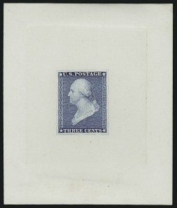 Sale Number 890, Lot Number 30, 1851 Issue 3c Blue, Die Essay on White Glazed Paper (11-E8c), 3c Blue, Die Essay on White Glazed Paper (11-E8c)