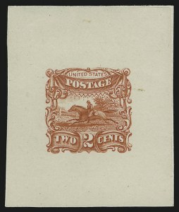 Sale Number 890, Lot Number 300, 1869 Pictorial Issue Essays2c Red Orange, Small Numeral, Die Essay on India (113-E3a), 2c Red Orange, Small Numeral, Die Essay on India (113-E3a)