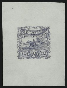 Sale Number 890, Lot Number 301, 1869 Pictorial Issue Essays2c Dusky Blue, Small Numeral, Die Essay on India (113-E3a), 2c Dusky Blue, Small Numeral, Die Essay on India (113-E3a)