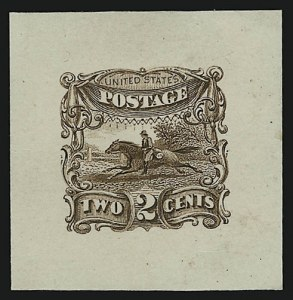 Sale Number 890, Lot Number 302, 1869 Pictorial Issue Essays2c Brown, Small Numeral, Die Essay on India, Completed Die (113-E3a), 2c Brown, Small Numeral, Die Essay on India, Completed Die (113-E3a)