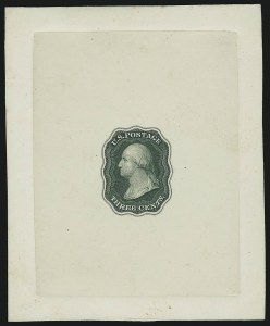 Sale Number 890, Lot Number 38, 1851 Issue 3c Green, Die Essay on India, Double Line Frame (11-E10a), 3c Green, Die Essay on India, Double Line Frame (11-E10a)