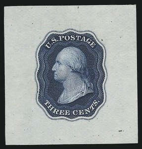 Sale Number 890, Lot Number 4, 1845 New York Postmasters Provisionals New York N.Y., 5c Violet Black, Large Die Essay on India (9X1-E1a), New York N.Y., 5c Violet Black, Large Die Essay on India (9X1-E1a)
