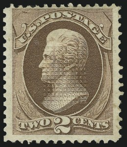 Sale Number 890, Lot Number 409, 1870 Issue 2c Brown, 11 x 14 Grill, Points Up (135-E), 2c Brown, 11 x 14 Grill, Points Up (135-E)