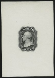 Sale Number 890, Lot Number 41, 1851 Issue 3c Black, Die Essay on White Glazed, Double Line Frame (11-E10d), 3c Black, Die Essay on White Glazed, Double Line Frame (11-E10d)