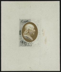 Sale Number 890, Lot Number 412, 1870 Issue 1c Franklin, Orange Brown and Pencil Die Essay on Thin White Card (145-E4), 1c Franklin, Orange Brown and Pencil Die Essay on Thin White Card (145-E4)