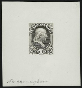 Sale Number 890, Lot Number 414, 1870 Issue 1c Franklin, Large Die Essay on White Glazed Paper (145-E8b), 1c Franklin, Large Die Essay on White Glazed Paper (145-E8b)