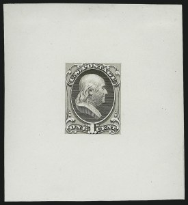 Sale Number 890, Lot Number 415, 1870 Issue 1c Franklin, Large Die Essay on White Glazed Paper (145-E8b), 1c Franklin, Large Die Essay on White Glazed Paper (145-E8b)