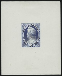 Sale Number 890, Lot Number 419, 1870 Issue 2c Jackson, Unadopted Design, Large Die Essay on White Glazed Paper (146-E7b), 2c Jackson, Unadopted Design, Large Die Essay on White Glazed Paper (146-E7b)