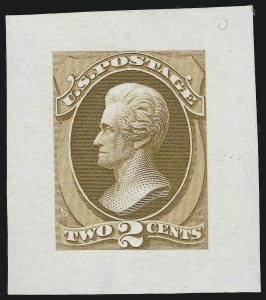 Sale Number 890, Lot Number 422, 1870 Issue 2c Jackson, Large Die Essay on India, Thin Card (146-E12, 146-E1 var), 2c Jackson, Large Die Essay on India, Thin Card (146-E12, 146-E1 var)