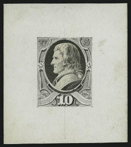 Sale Number 890, Lot Number 429, 1870 Issue 10c Jefferson, Die Essay on Thin White Card (150-E1), 10c Jefferson, Die Essay on Thin White Card (150-E1)