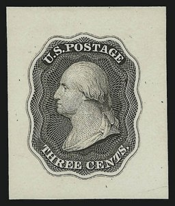 Sale Number 890, Lot Number 43, 1851 Issue 3c Dark Brown, Die Essay on White Glazed, Double Line Frame (11-E10d), 3c Dark Brown, Die Essay on White Glazed, Double Line Frame (11-E10d)