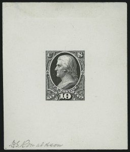 Sale Number 890, Lot Number 431, 1870 Issue 10c Jefferson, Large Die Essay of Unadopted Design on Glazed Paper (150-E5b), 10c Jefferson, Large Die Essay of Unadopted Design on Glazed Paper (150-E5b)