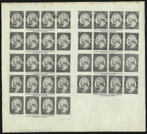 Sale Number 890, Lot Number 453, 1877 Essays 1c-90c Black, Sheet of 36 on Old Glazed Paper (183-E3d var), 1c-90c Black, Sheet of 36 on Old Glazed Paper (183-E3d var)