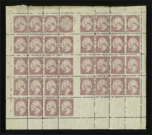 Sale Number 890, Lot Number 454, 1877 Essays 1c-90c Dull Deep Violet Red, Sheet of 36, Perforated and Gummed (182-E3e), 1c-90c Dull Deep Violet Red, Sheet of 36, Perforated and Gummed (182-E3e)