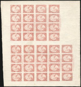 Sale Number 890, Lot Number 455, 1877 Essays 1c-90c Sheet of 36 on Old Glazed Paper (182-E3d, 183-E2d), 1c-90c Sheet of 36 on Old Glazed Paper (182-E3d, 183-E2d)