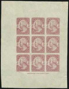 Sale Number 890, Lot Number 458, 1877 Essays 3c Washington, Plate Essay on Stamp Paper, Imperforate (184-E4c), 3c Washington, Plate Essay on Stamp Paper, Imperforate (184-E4c)