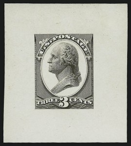 Sale Number 890, Lot Number 463, Continental Bank Note Co.3c Washington, Die Essay on White Glazed Paper (184-E10c), 3c Washington, Die Essay on White Glazed Paper (184-E10c)