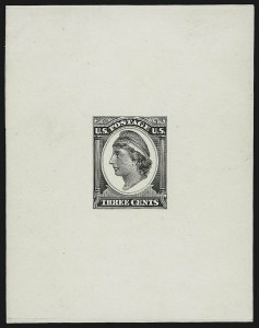 Sale Number 890, Lot Number 464, Continental Bank Note Co.3c Liberty, Die Essay on White Glazed Paper (184-E11c), 3c Liberty, Die Essay on White Glazed Paper (184-E11c)