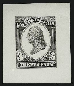 Sale Number 890, Lot Number 465, Continental Bank Note Co.3c Black, Liberty Die Essay on White Glazed Paper (184-E12b), 3c Black, Liberty Die Essay on White Glazed Paper (184-E12b)