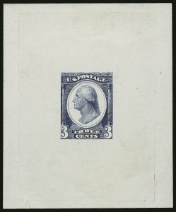 Sale Number 890, Lot Number 469, Continental Bank Note Co.3c Washington, Die Essay on White Glazed Paper (184-E14b), 3c Washington, Die Essay on White Glazed Paper (184-E14b)