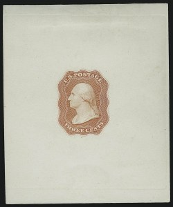 Sale Number 890, Lot Number 48, 1851 Issue 3c Scarlet, Die Essay on White Glazed, Single Line Frame (11-E12d), 3c Scarlet, Die Essay on White Glazed, Single Line Frame (11-E12d)
