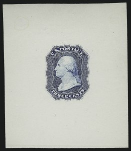 Sale Number 890, Lot Number 49, 1851 Issue 3c Blue, Die Essay on White Glazed, Single Line Frame (11-E12d), 3c Blue, Die Essay on White Glazed, Single Line Frame (11-E12d)