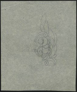 Sale Number 890, Lot Number 551, 1902-03 Issue2c 1902 Issue, Preliminary Pencil Drawing of Right Numeral on Tracing Paper (301-E4), 2c 1902 Issue, Preliminary Pencil Drawing of Right Numeral on Tracing Paper (301-E4)