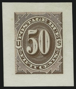 Sale Number 890, Lot Number 579, Postage Dues1c-50c 1879 Postage Due, Small Die Proofs on Wove (J1P2-J7P2), 1c-50c 1879 Postage Due, Small Die Proofs on Wove (J1P2-J7P2)