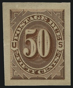 Sale Number 890, Lot Number 581, Postage Dues1c-50c Red Brown, 1884 Issue, Panama-Pacific Small Die Proofs on Soft Yellowish Wove (J15P2a-J21P2a), 1c-50c Red Brown, 1884 Issue, Panama-Pacific Small Die Proofs on Soft Yellowish Wove (J15P2a-J21P2a)