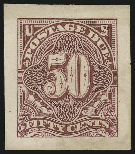 Sale Number 890, Lot Number 583, Postage Dues1c-50c Claret, 1894 Postage Due Issue, Panama-Pacific Small Die Proofs on Soft Yellowish Wove (J31P2a-J37P2a), 1c-50c Claret, 1894 Postage Due Issue, Panama-Pacific Small Die Proofs on Soft Yellowish Wove (J31P2a-J37P2a)