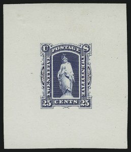 Sale Number 890, Lot Number 595, Newspapers, Post Office Seals and Revenue25c Blue, 1879 Continental Bank Note Co. Newspaper Issue, Die Essay on White Ivory Paper (PR9-E2b), 25c Blue, 1879 Continental Bank Note Co. Newspaper Issue, Die Essay on White Ivory Paper (PR9-E2b)