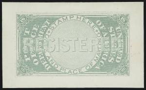 Sale Number 890, Lot Number 598, Newspapers, Post Office Seals and RevenueGreen Post Office Seal Essay on India (OXF1-E4a), Green Post Office Seal Essay on India (OXF1-E4a)