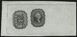 Sale Number 890, Lot Number 6, 1845 New York Postmasters Provisionals New York N.Y., 5c Green, Large Die Essay on India (9X1-E1a), New York N.Y., 5c Green, Large Die Essay on India (9X1-E1a)
