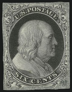 "Sale Number 890, Lot Number 64, 1851 Issue 1c Black, Die Essay on India, ""Six Cents"" (5-E2), 1c Black, Die Essay on India, ""Six Cents"" (5-E2)"