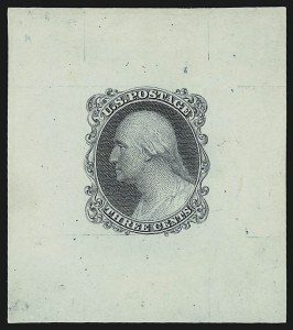Sale Number 890, Lot Number 69, 1851 Issue 3c Die Essay on Colored Card (11-E17d), 3c Die Essay on Colored Card (11-E17d)