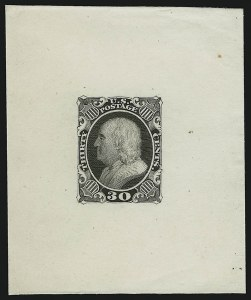 Sale Number 890, Lot Number 77, 1851 Issue 30c Black, Die Essay on India (38-E1 var), 30c Black, Die Essay on India (38-E1 var)