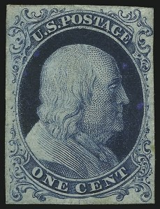 Sale Number 890, Lot Number 81, 1851 Issue 1c Blue, Ty. I, Plate Proof on Stamp Paper (40P5), 1c Blue, Ty. I, Plate Proof on Stamp Paper (40P5)