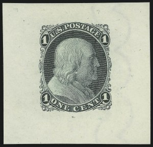 Sale Number 890, Lot Number 85, 1861 Issue 1c Black, Die Essay on Old Proof Paper, Bond Paper with Double Line of Scallops Wmk. (63-E9c, 63-E9h), 1c Black, Die Essay on Old Proof Paper, Bond Paper with Double Line of Scallops Wmk. (63-E9c, 63-E9h)