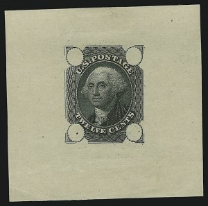 Sale Number 890, Lot Number 89, 1861 Issue 12c Black, Die Essay on Old Proof Paper (69-E3b), 12c Black, Die Essay on Old Proof Paper (69-E3b)