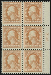 Sale Number 891, Lot Number 3638, Plate Blocks and Complete Sheets (Washington-Franklin Issues)6c Red Orange (468), 6c Red Orange (468)