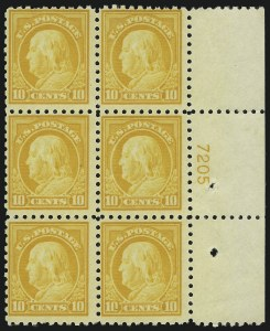 Sale Number 891, Lot Number 3643, Plate Blocks and Complete Sheets (Washington-Franklin Issues)10c Orange Yellow (472), 10c Orange Yellow (472)