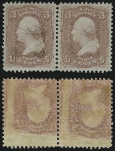 Sale Number 895, Lot Number 131, 1861-66 Issue (Scott 63 to 70b)3c Rose, Printed on Both Sides (65e), 3c Rose, Printed on Both Sides (65e)