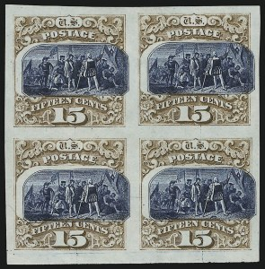 Sale Number 895, Lot Number 194, 1869 Pictorial Issue (Essays and Proofs)15c Brown & Blue, Ty. III, Plate Proof on India (129P3), 15c Brown & Blue, Ty. III, Plate Proof on India (129P3)