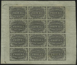 Sale Number 895, Lot Number 44, Postmasters Provisionals (Providence)Providence R.I., 5c & 10c Gray Black, Se-Tenant (10X2a), Providence R.I., 5c & 10c Gray Black, Se-Tenant (10X2a)