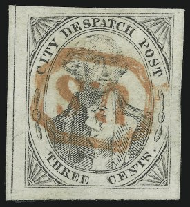 Sale Number 896, Lot Number 504, U.S. City Despatch PostU.S. City Despatch Post, New York N.Y., 3c Black on Grayish (6LB1), U.S. City Despatch Post, New York N.Y., 3c Black on Grayish (6LB1)